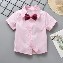 Kleinkind Jungen Hemd mit Knopfen und Schleife mit Karo Muster