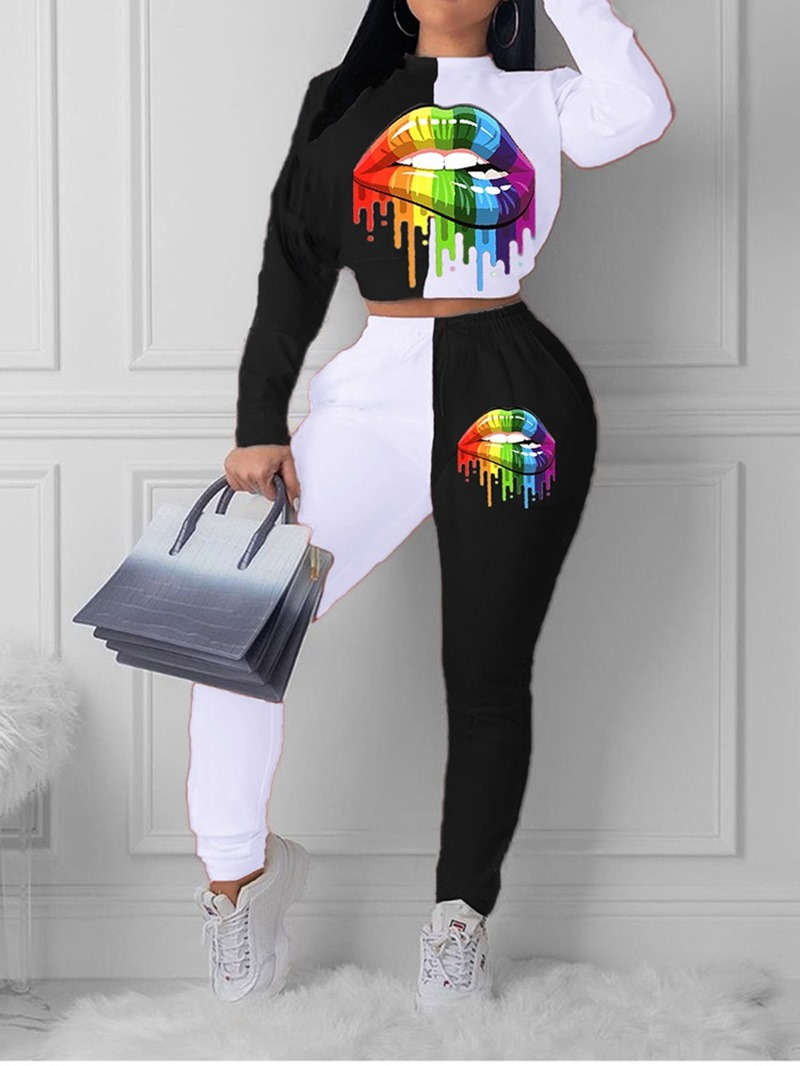 Ericdress T-Shirt Casual Color Block Pullover Stand Collar Two Piece Sets