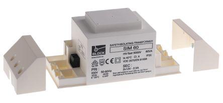 Block 60VA Isolating Transformer, 230V ac Primary 2 x, 12V ac Secondary