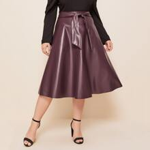 Plus Self Belted PU Leather Skirt