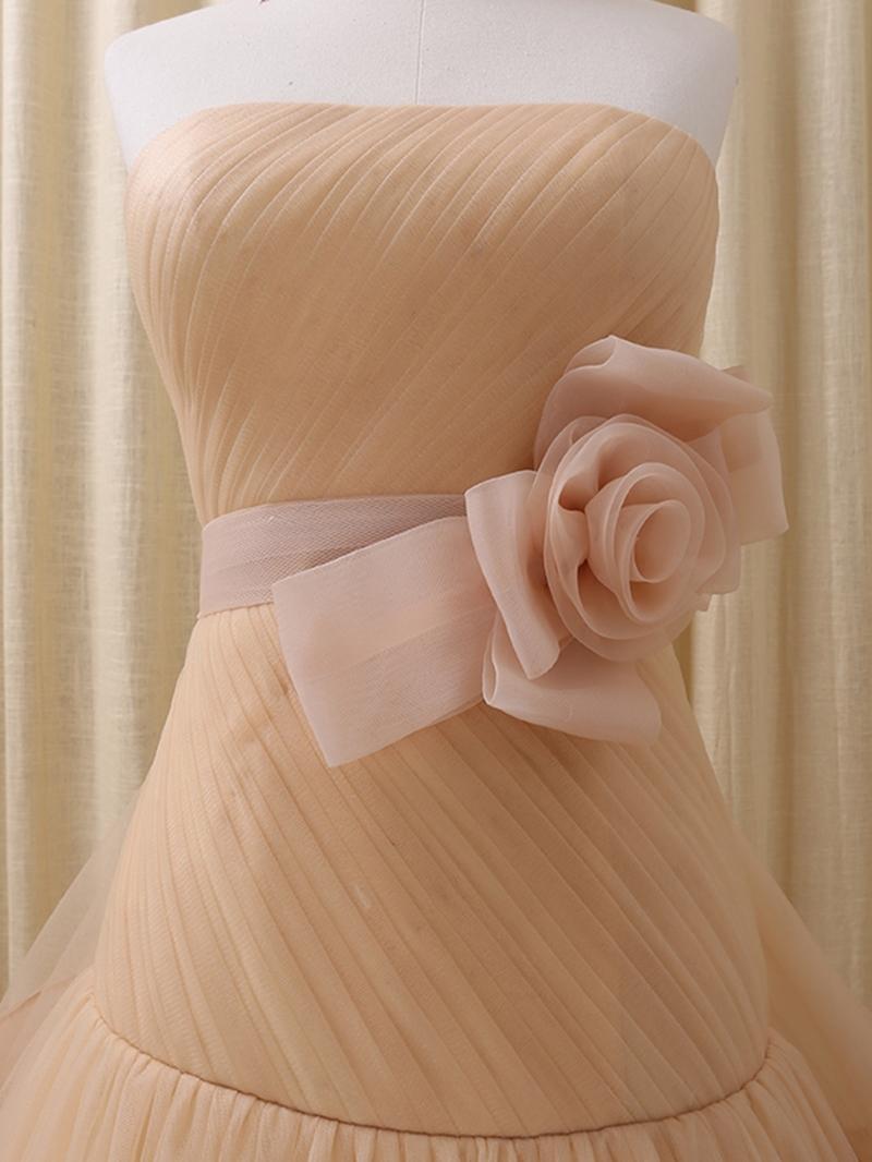 Ericdress Strapless Ball Gown Flowers Bowknot Court Train Quinceanera Dress