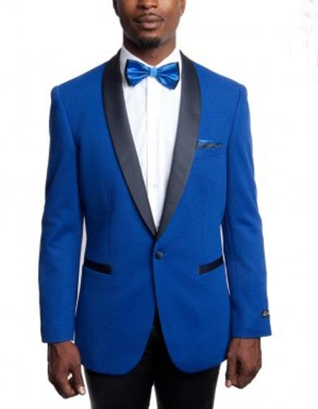 Men's BlueKnitted Slim Fit Tuxedo Jacket Black Shawl Lapel Blazer