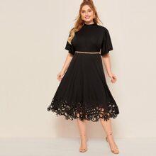 Grosse Grossen - Kleid mit Band hinten, Laserausschnitt ohne Guertel
