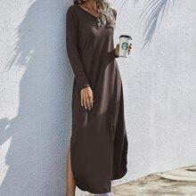 V-neck Split Hem Longline Tee Dress