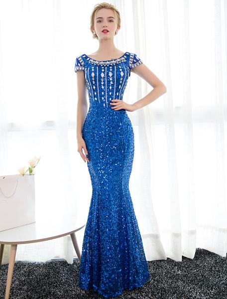 Milanoo Vestido de noche de azul francia con manga corta con escote redondo con pedreria