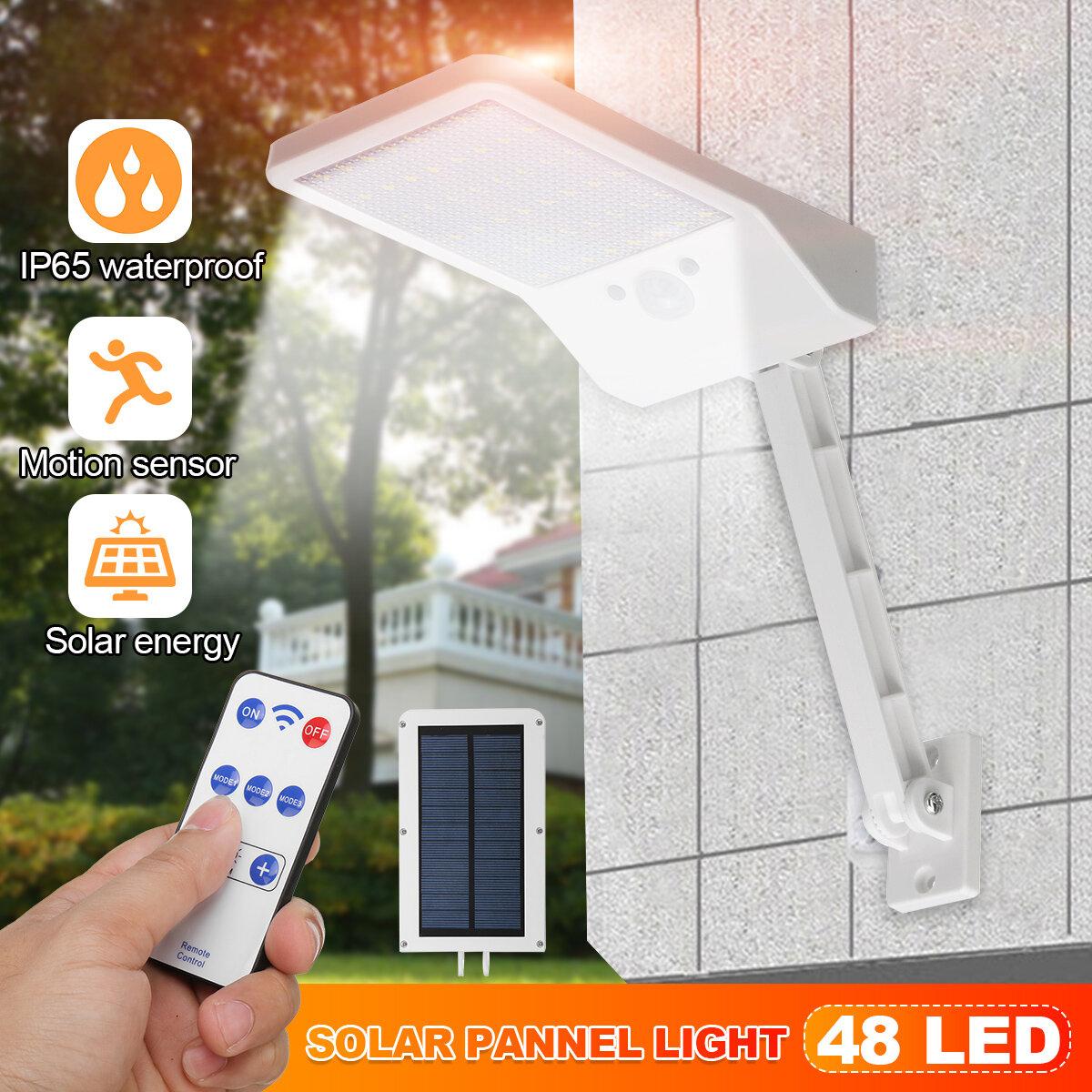 Motion Sensor PIR Bright 48 LED Solar Wall Power Light Garden Outdoor Street Lamp+Remote Control
