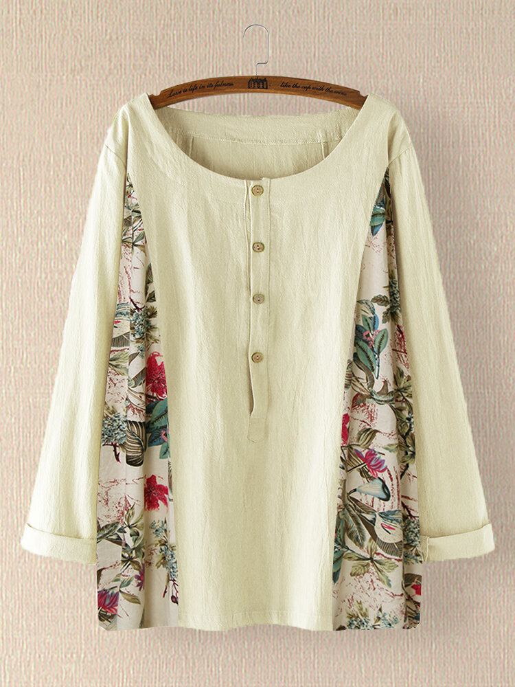 Casual Floral Print Patchwork O-neck Plus Size Blouse