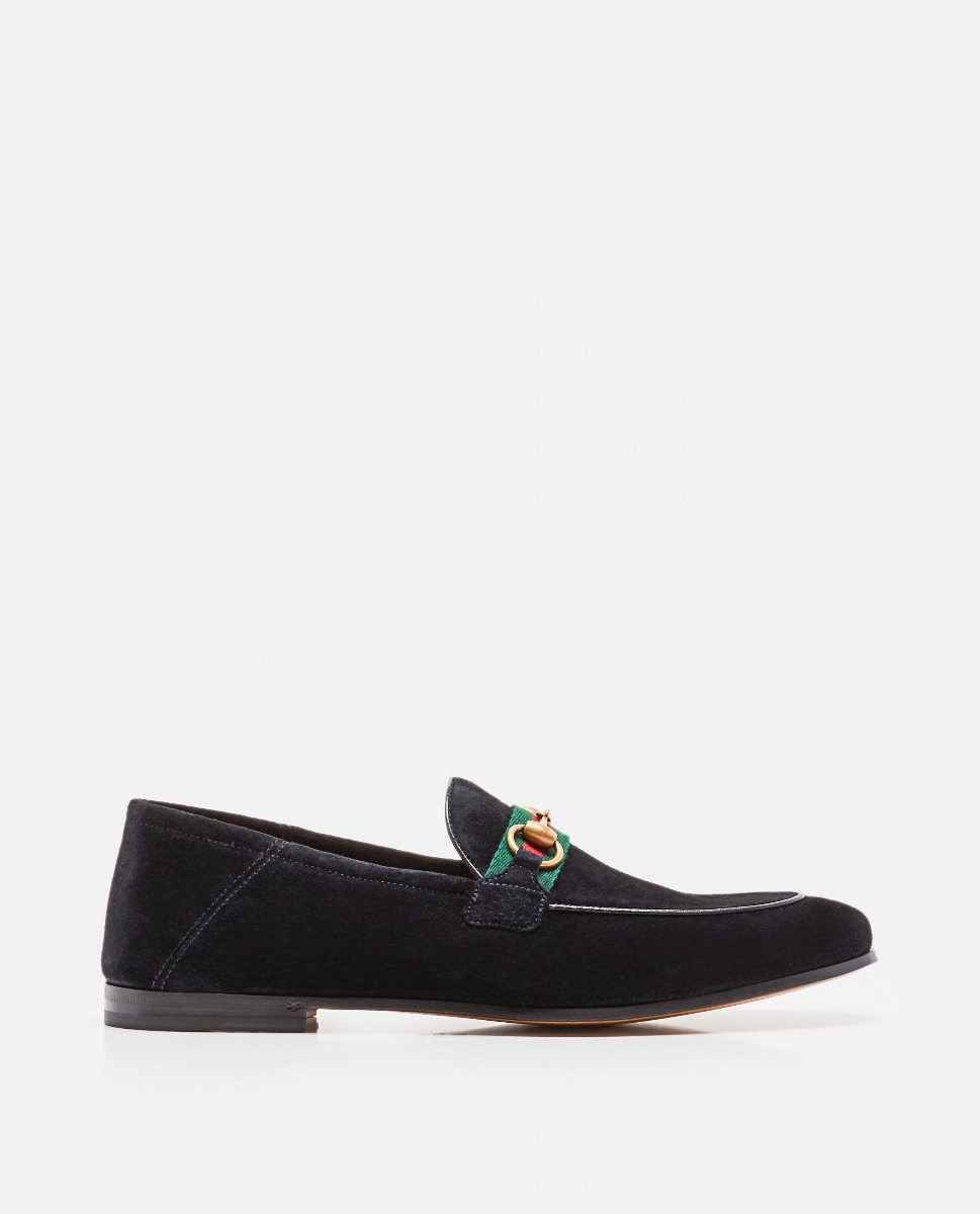 Suede moccasin with horsebit and Web