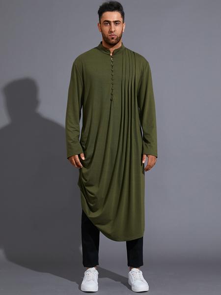 Yoins Men Casual Fall Stand Collar Plain Pleated Midi Length Shirt