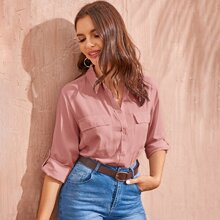Flap Pockets Roll Up Sleeve Utility Blouse