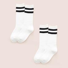 2 Paare Kinder Socken mit Streifen