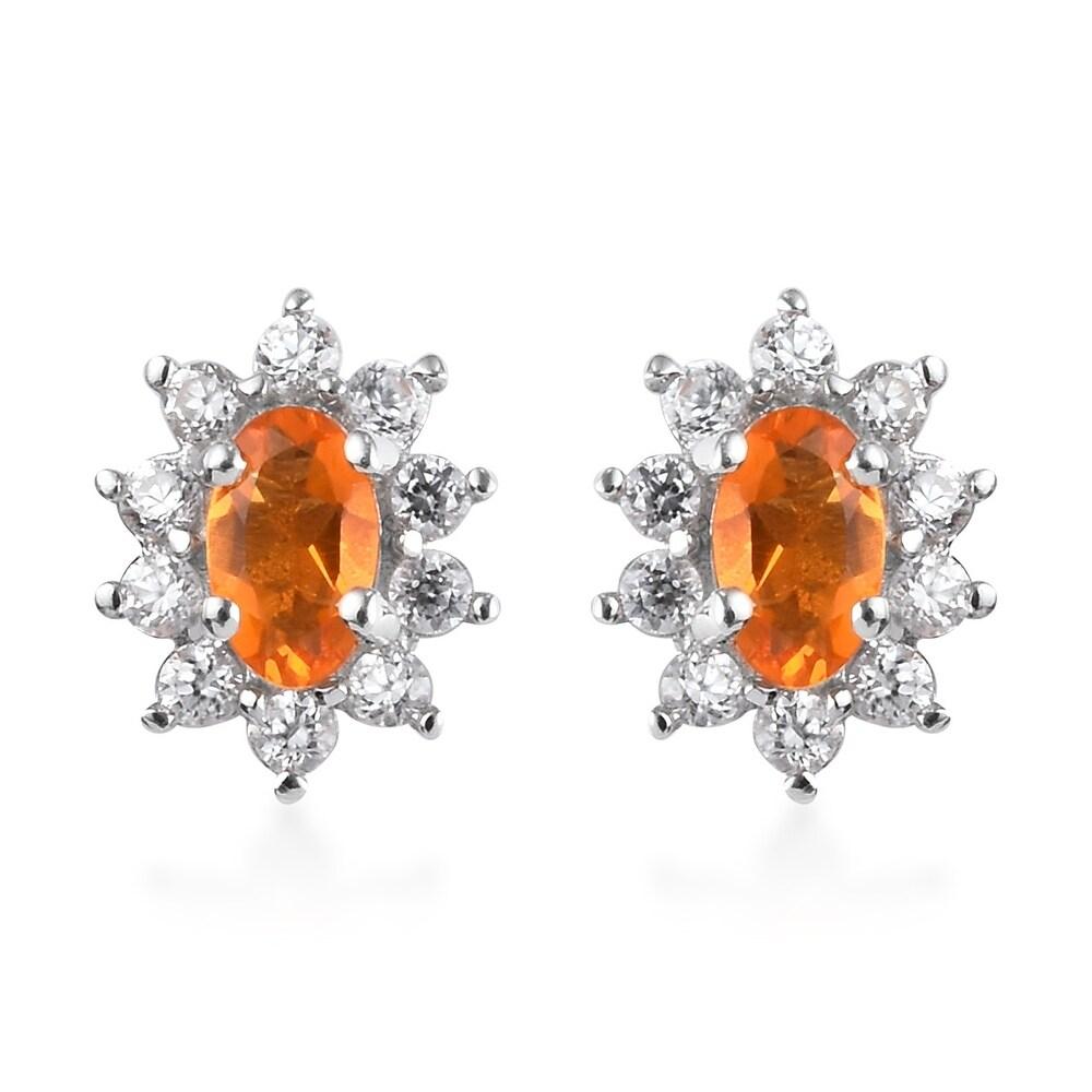 Platinum Over Sterling Silver Fire Opal Zircon Stud Earrings Ct 0.7 (Orange - Opal - Orange)