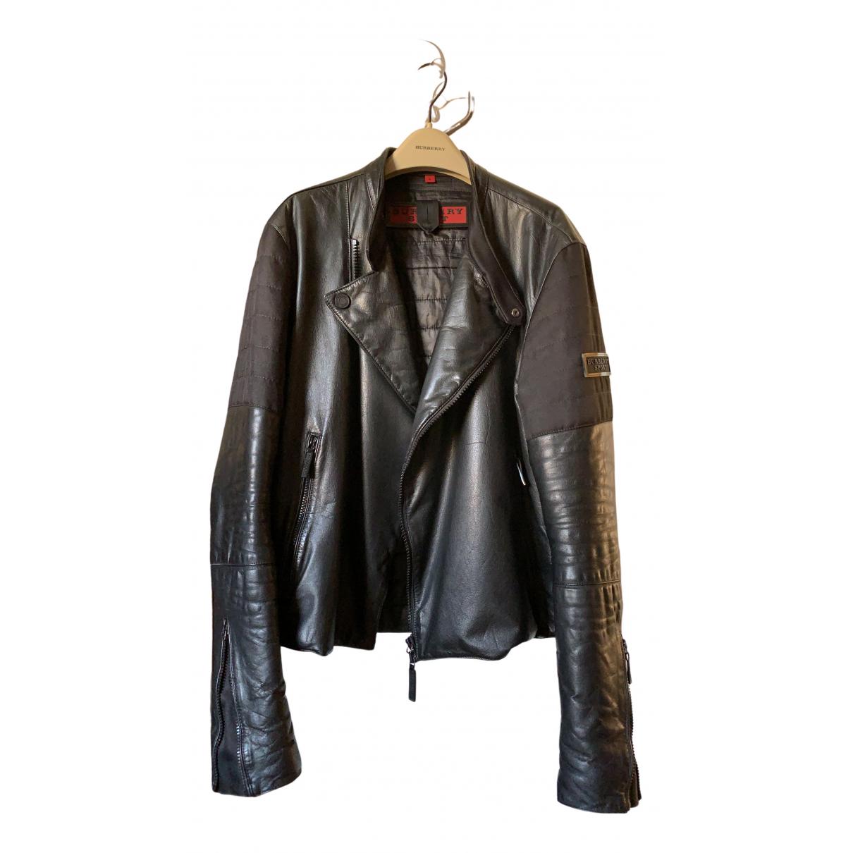 Burberry - Vestes.Blousons   pour homme en cuir - noir