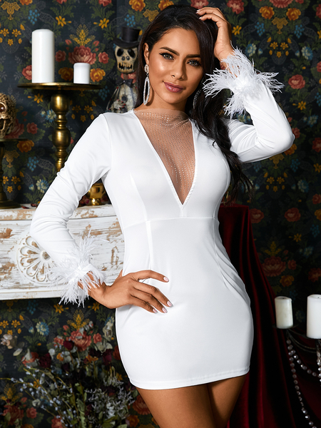 Yoins White Patch Feather Deep V Neck Long Sleeves Dress