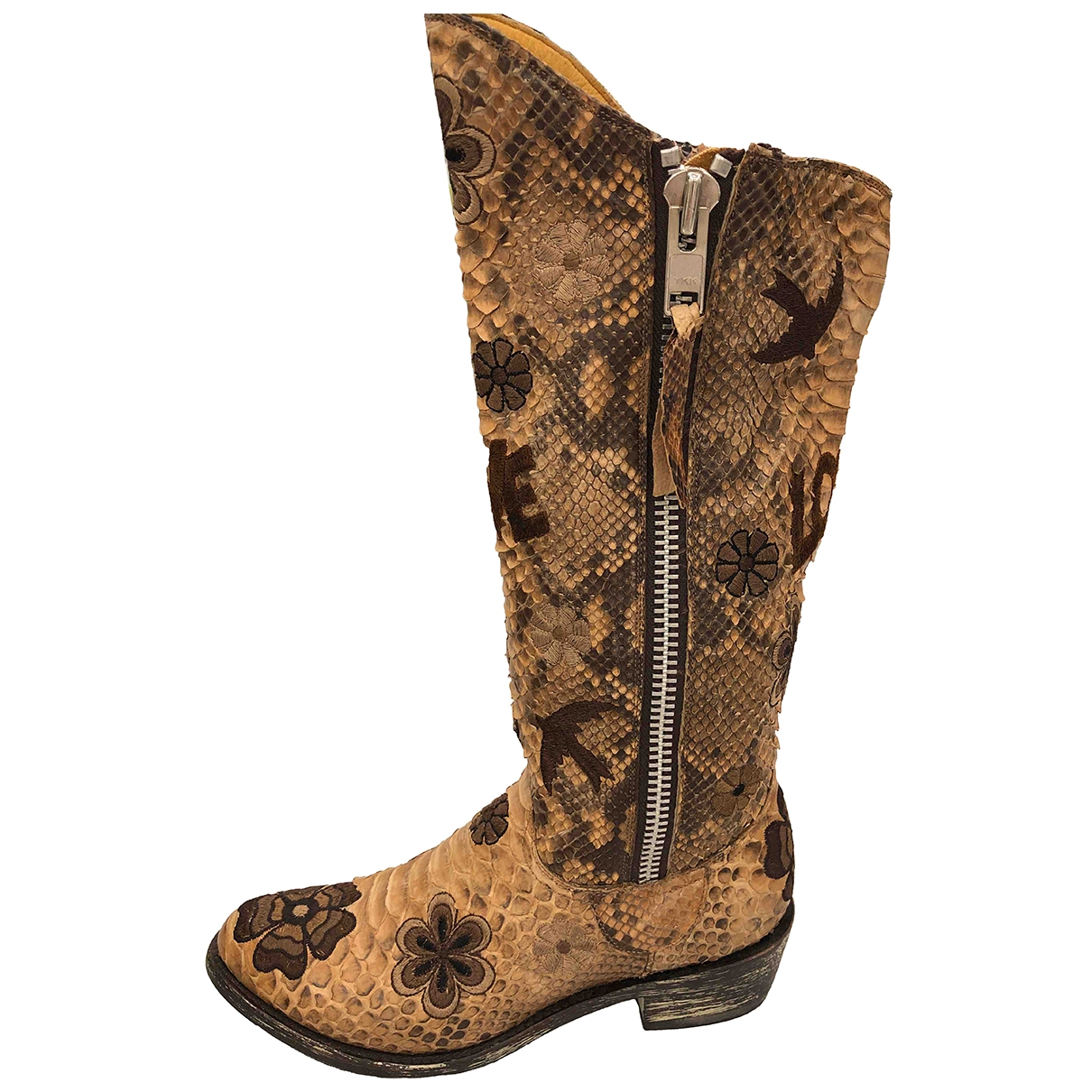 Old Gringo \N Beige Python Boots for Women 36 EU