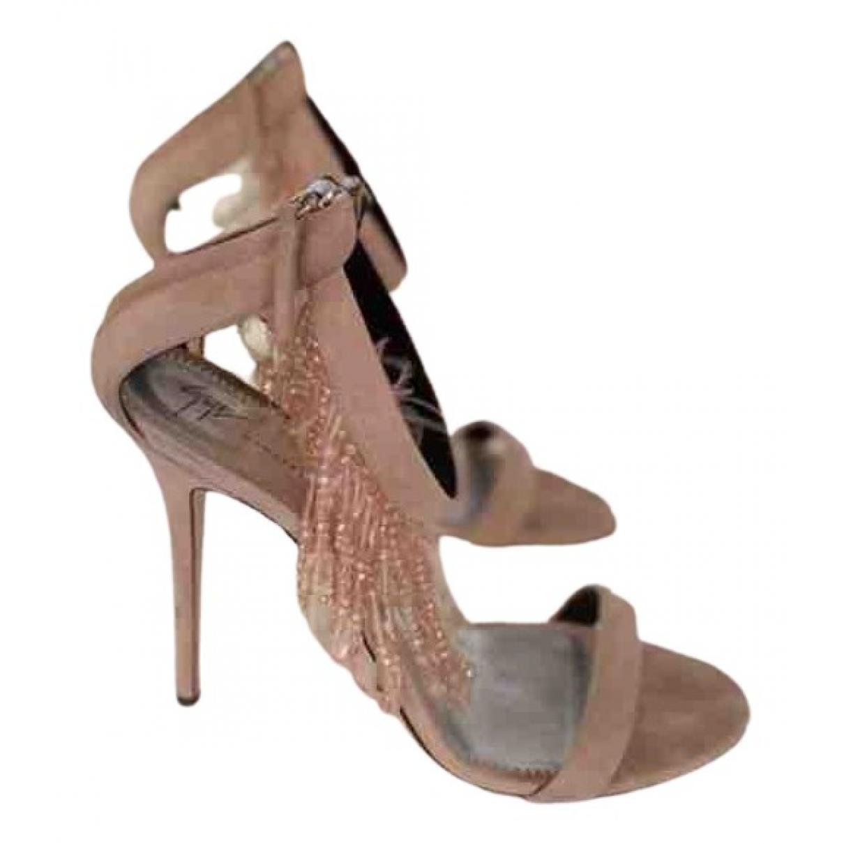 Giuseppe Zanotti N Pink Velvet Sandals for Women 40 EU