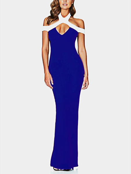 Yoins Navy Cut Out Cold Shoulder Sleeveless Party Dress