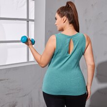 Plus Keyhole Back Solid Sports Tank Top