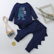 Baby Boy Cartoon Dinosaur Bodysuit & Pants
