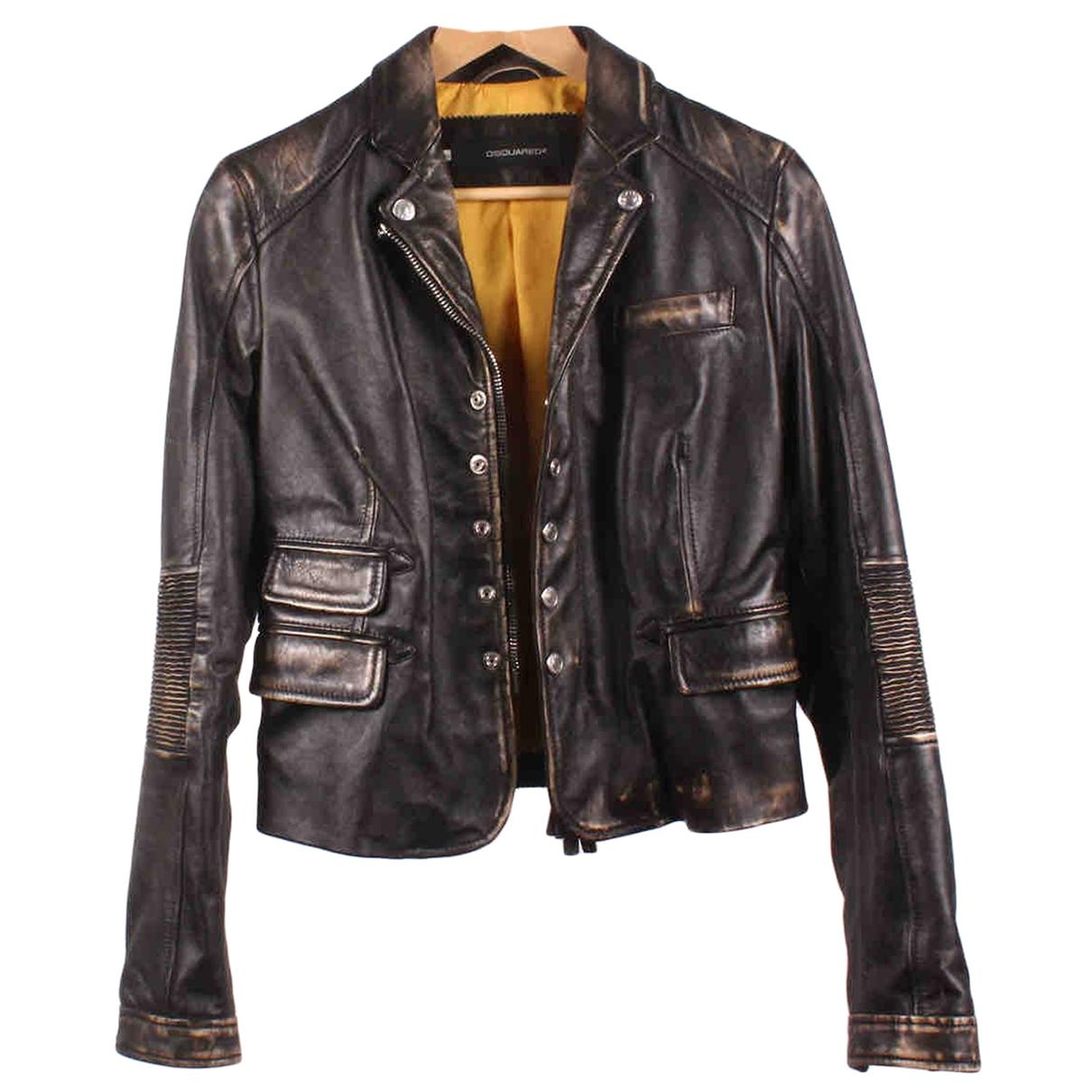 Dsquared2 - Veste   pour femme en cuir - marron
