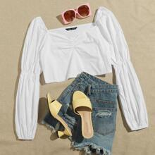 Sweetheart Neck Gathered Sleeve Crop Top