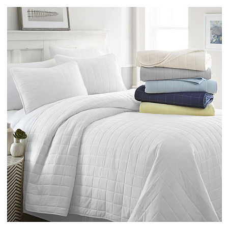 Casual Comfort Premium Ultra Soft Square Pattern Quilted Coverlet Set, One Size , White