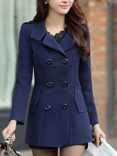 Milanoo Women Peacoat Dark Navy Long Sleeve Turndown Collar Double Breasted Woolen Winter Coat