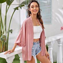 Roll Up Sleeve Solid Kimono