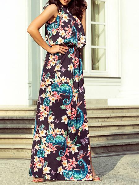 Milanoo Vestidos largos Vestido de playa de gasa sin mangas con estampado floral