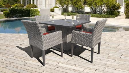 Monterey Collection MONTEREY-SQUARE-KIT-4DCC-TERRACOTTA Patio Dining Set with 1 Table   4 Arm Chairs - Beige and Terracotta