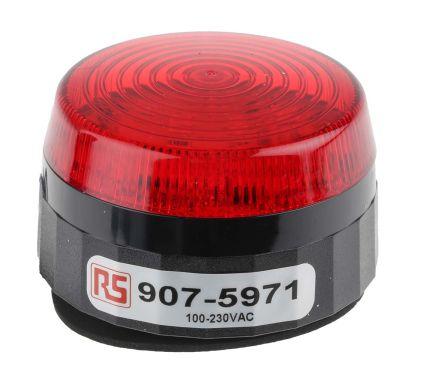 RS PRO Red LED Beacon, 110 → 230 V ac, Flashing, Screw Mount