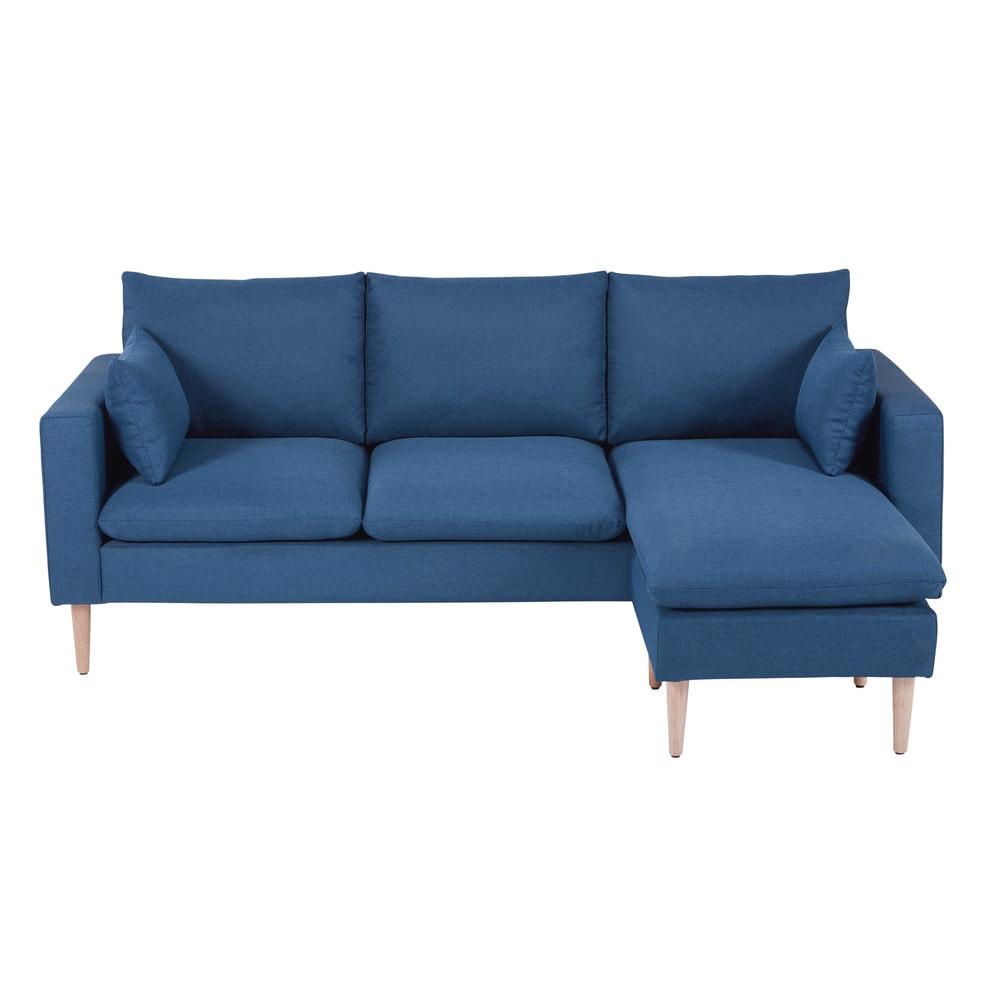 3/4-Sitzer-Ecksofa mit blauem Stoffbezug Joey