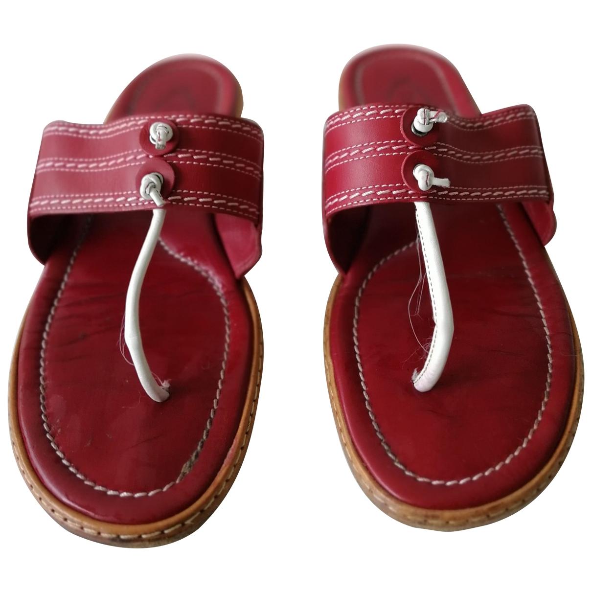 Tods - Sandales   pour femme en cuir - bordeaux