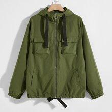 Jacke mit O-Ring, Reissverschluss, Taschen Flicken vorn und Kapuze