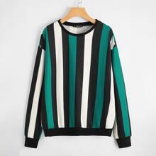 Sweatshirt mit Streifen und sehr tief angesetzter Schulterpartie