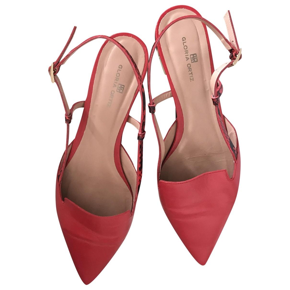 - Ballerines   pour femme en cuir - rouge