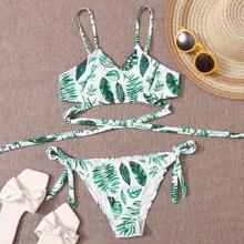 Bikini Badeanzug mit Pflanzen Muster und Wickel Design