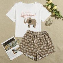 Pajama Set mit Buchstaben & Elefant Muster