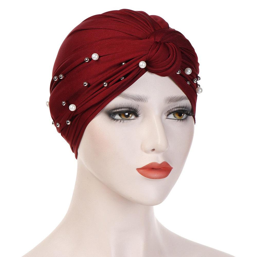 Womens Vintage Tie Bead Beanie Cap Casual Milk Silk Soft Solid Bonnet Hat Headpiece