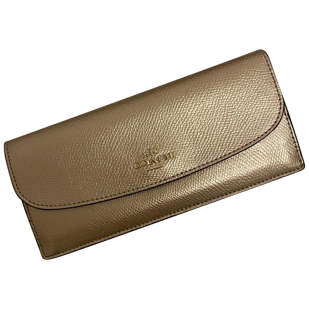 Coach - Portefeuille   pour femme en cuir - dore