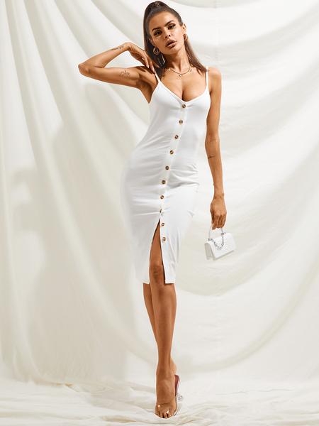 YOINS Front Button Backless V-neck Sleeveless Dress