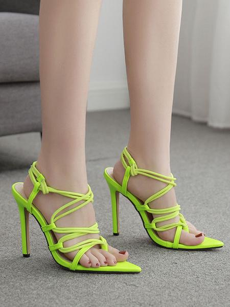 Milanoo Sandalias de tacon alto Tacon de aguja verde Sandalias de tiras de cuero de PU con punta abierta Zapatos de mujer