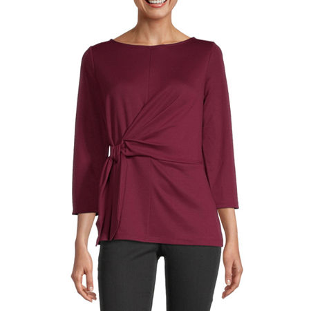 Liz Claiborne Womens Boat Neck 3/4 Sleeve Ponte Blouse, Xx-large , Red