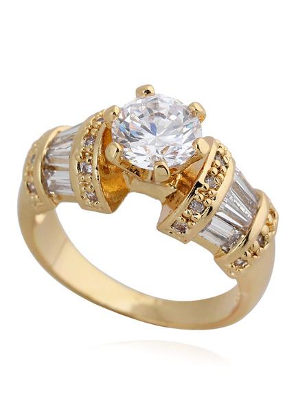 Milanoo Gold Round Glass Round Brilliant Bronze Glamourous Fashion Ring