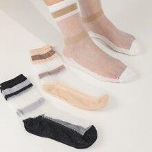3 Paare Socken mit Streifen und Netzstoff