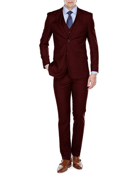 Men's Burgundy Slim Fit 3 Piece Single 2 Button Notch Lapel Suits