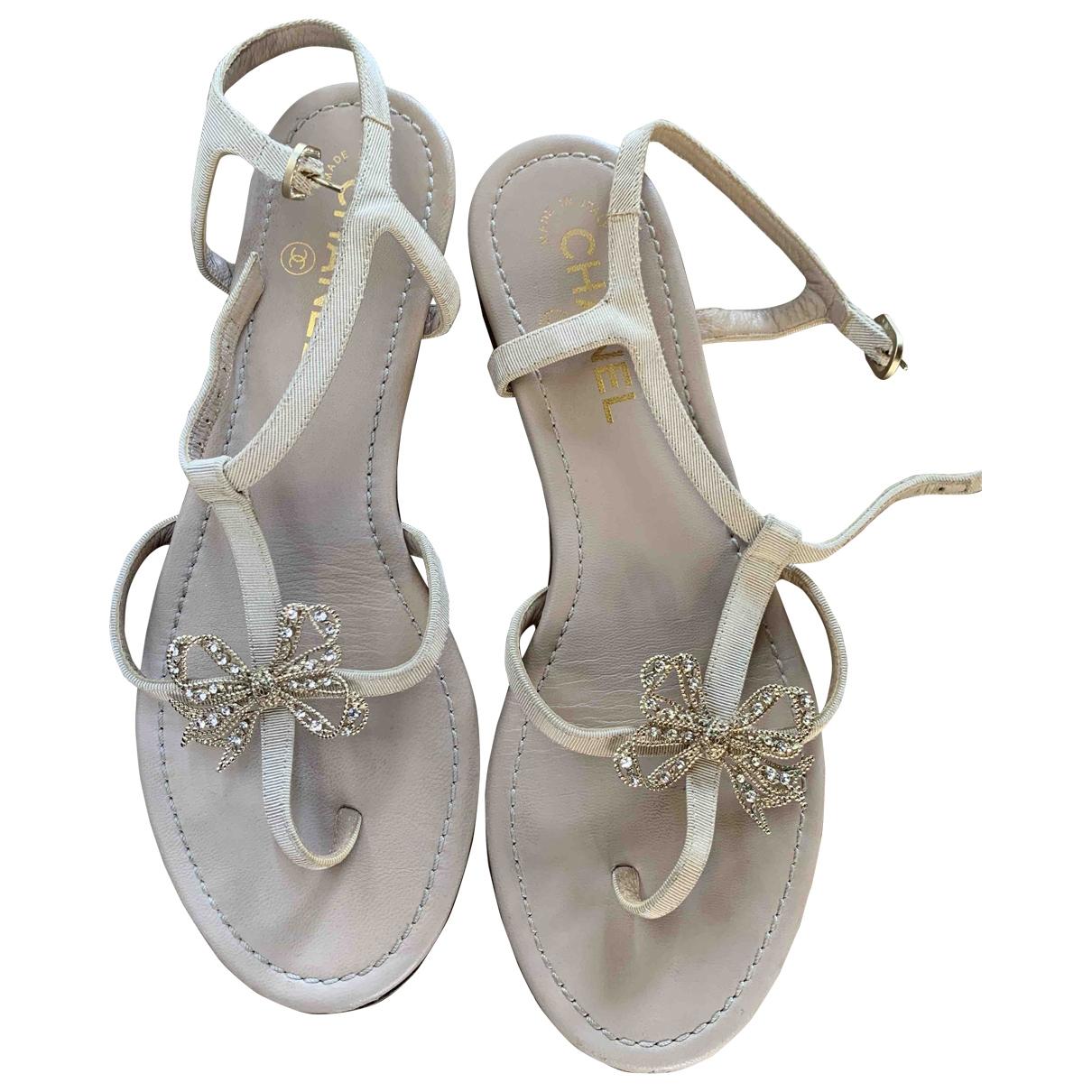 Chanel \N Ecru Cloth Sandals for Women 38.5 EU
