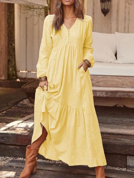 Milanoo Maxi Dresses Long Sleeves Coffee Brown V-Neck Ruffles Maxi Linen Floor Length Dress