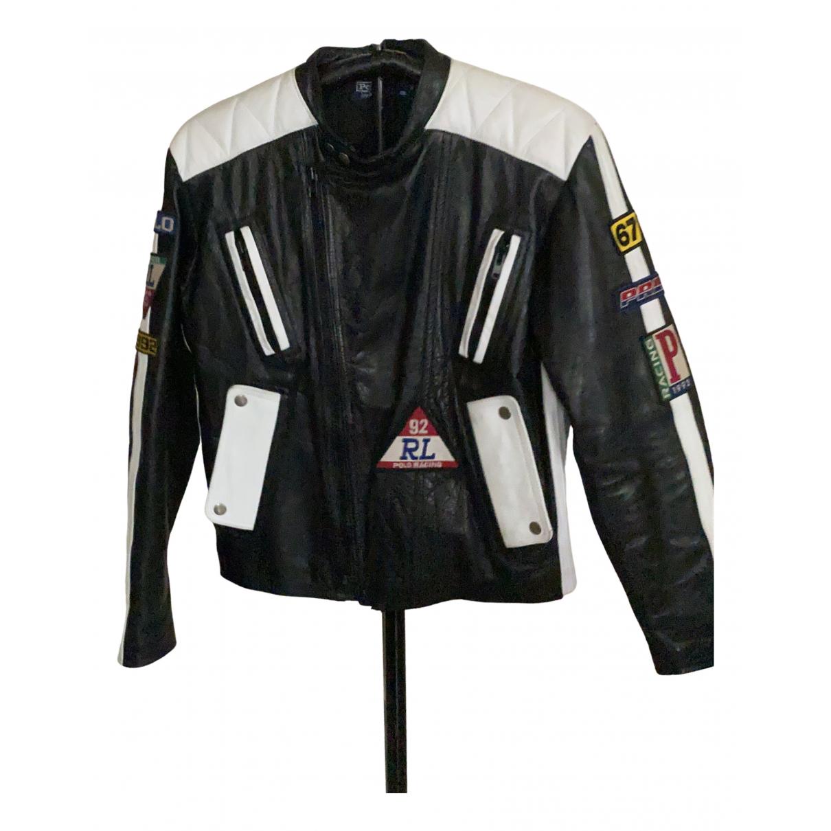 Polo Ralph Lauren - Blouson   pour femme en cuir - noir