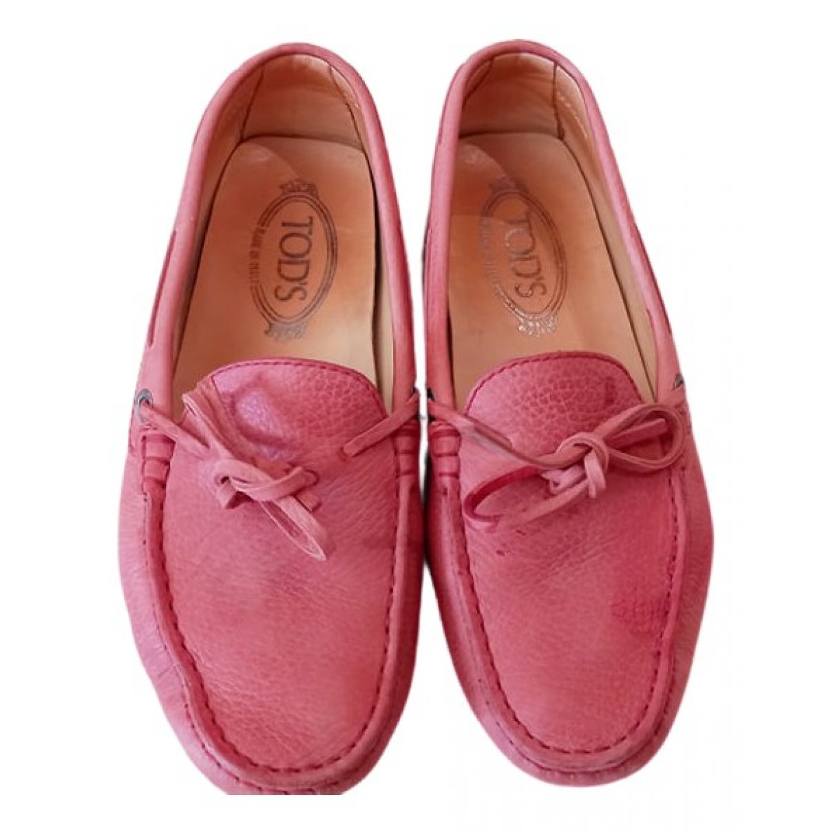 Tod's Gommino Pink Leather Flats for Women 36 IT